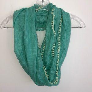 Aqua scarf with Pom Poms